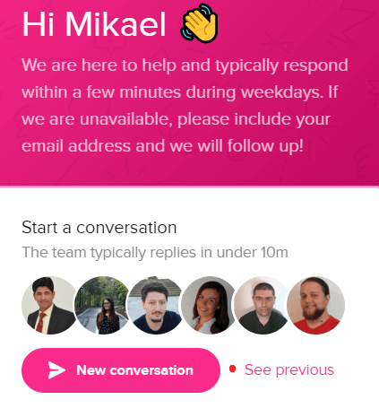 divi live chat support example