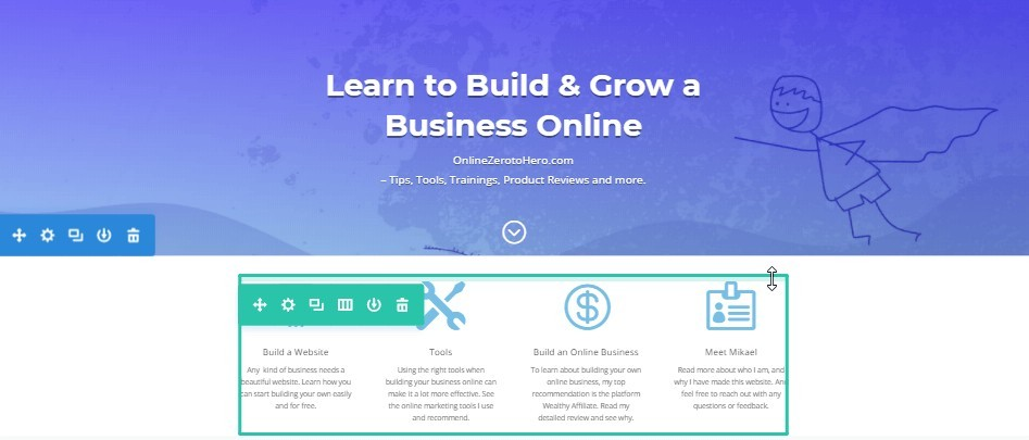 divi page builder example