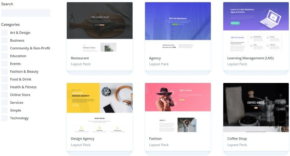 divi theme layouts
