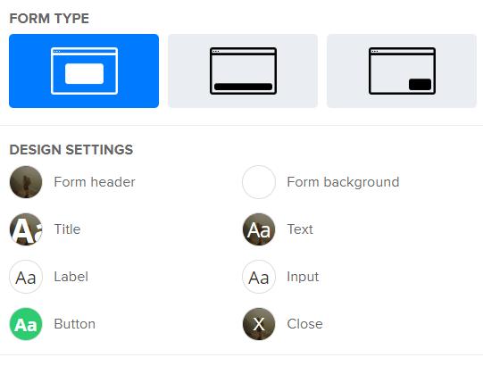 mailerlite popup settings