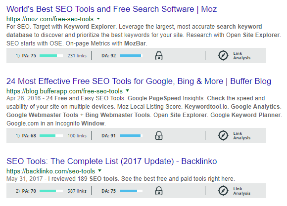 mozbar search results analysis
