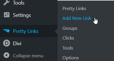 pretty links wordpress menu