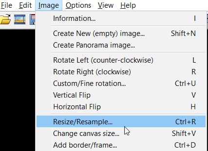 resize image irfanview