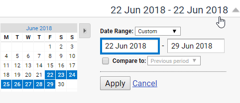analytics date settings