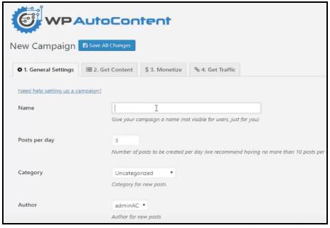 create wp auto content campaign