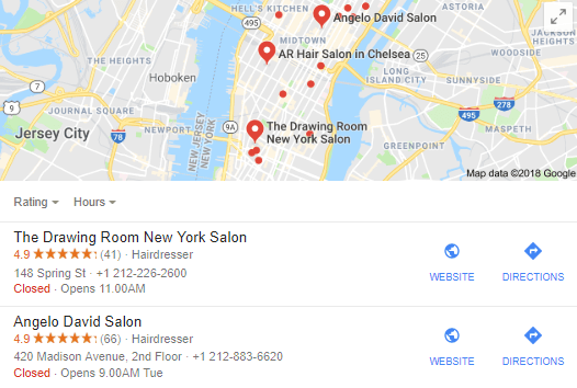 example of google stars for local business