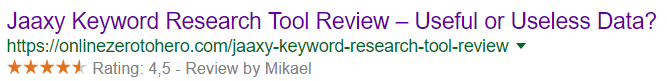 rating stars showing in google
