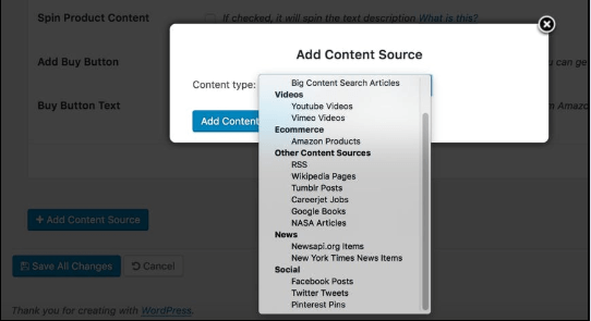 select content sources