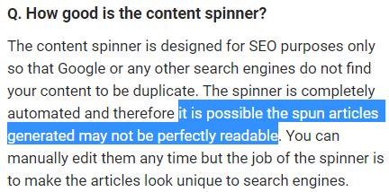 spun content errors