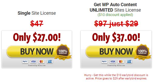 wp auto content price