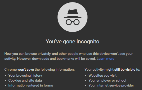google incognito search