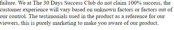 30 day success club disclaimer