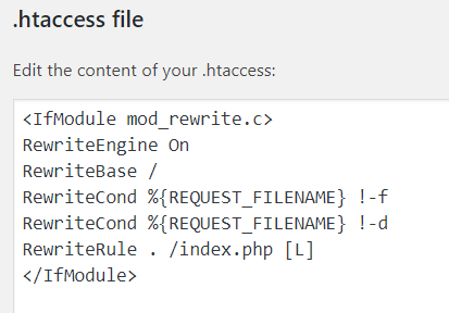htaccess file standard
