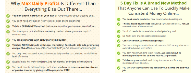max daily profits compared to 5 day fix