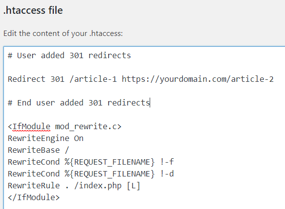 redirect in htaccess file