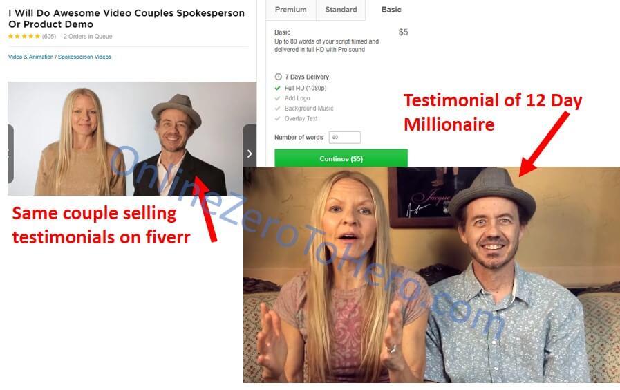 12 day millionaire false testimonial 1