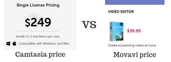 camtasia pricing compared to movavi