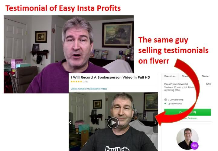 easy insta profits false testimonial example
