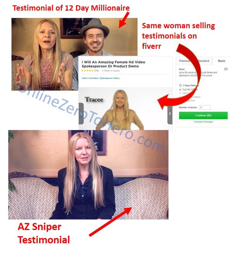 az sniper fake testimonial example 2