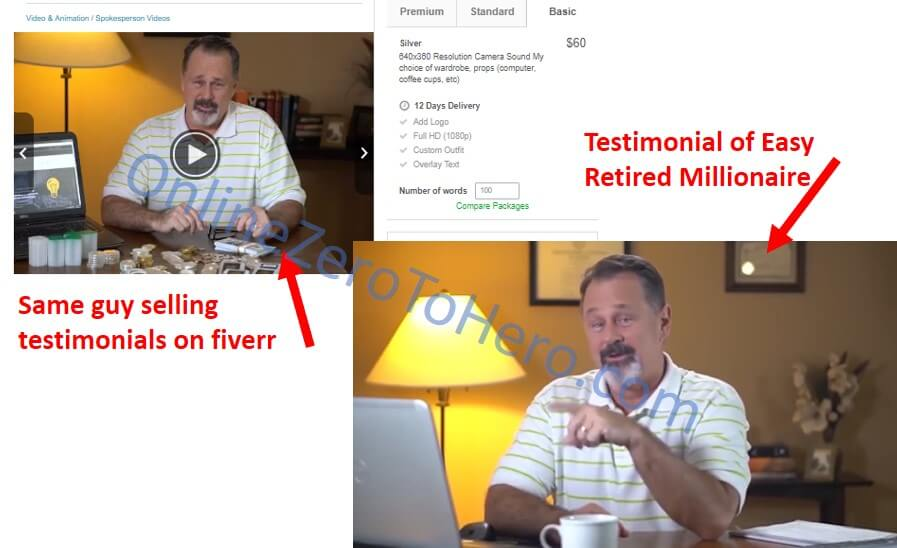 easy retired millionaire false testimonial example