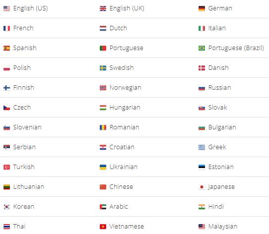 language options on textbroker