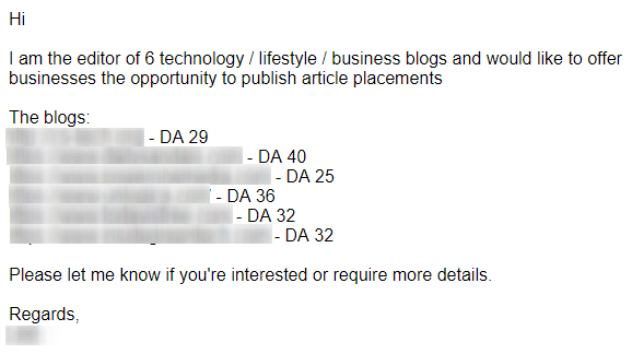 link sales email example