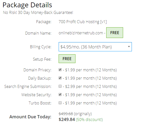 700 profit club hosting package
