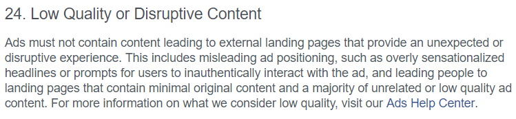 facebook ad policy example