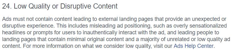 facebook ad policy example