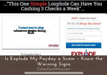 is explode my payday a scam header