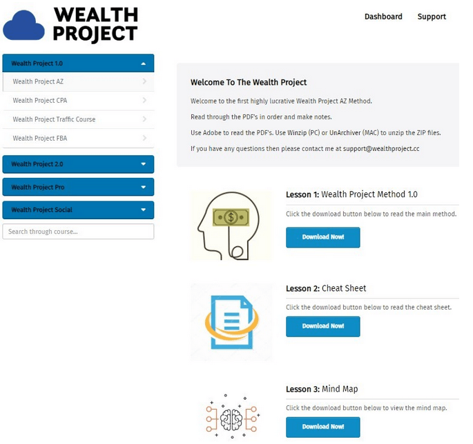 wealth project members dashboard