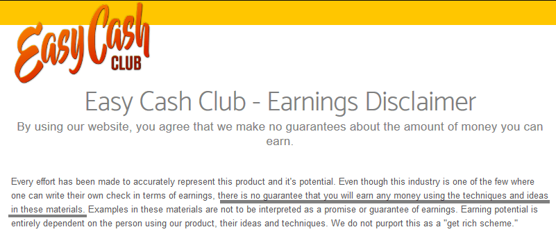 easy cash club no guarantee