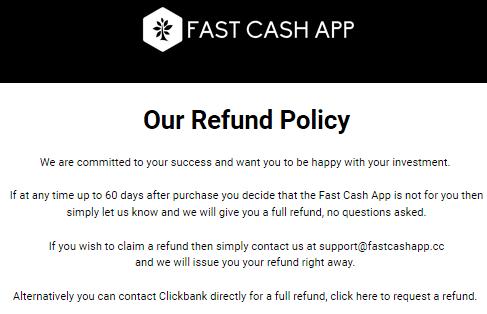fast cash app refund policy