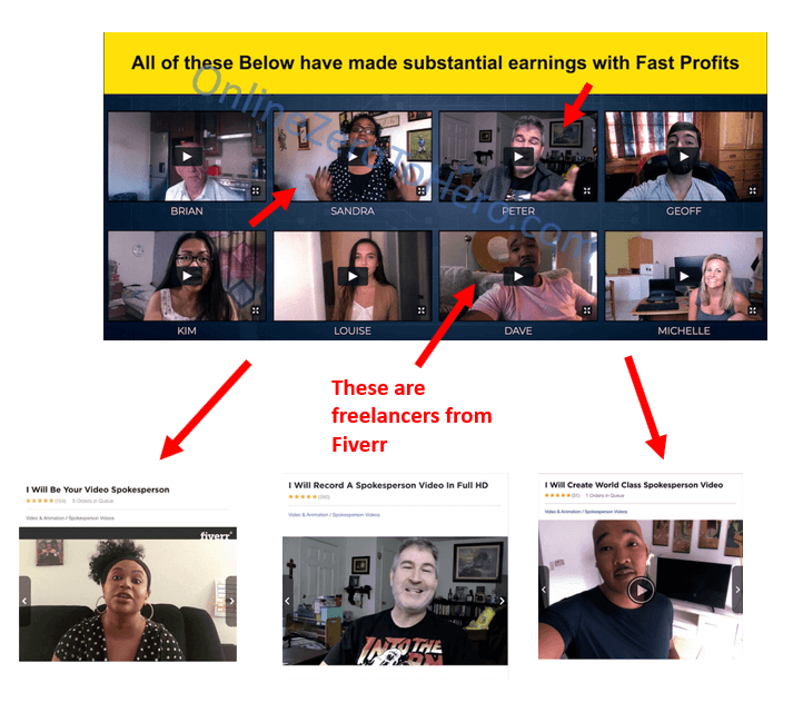 fast profits online fake testimonials