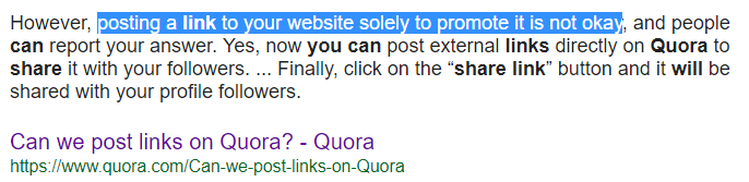 quora link posting rules