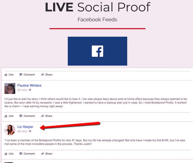 fake social proof bulletproof profits