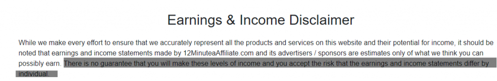 12 minute affiliate earnings disclaimer