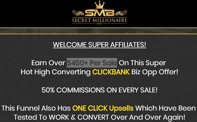 secret millionaire bot affiliate page