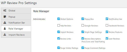wp review plugin role settings