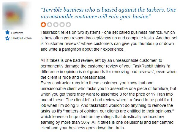 complaint about taskrabbit review system