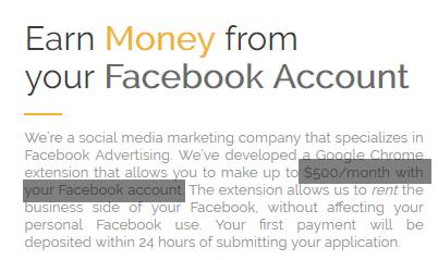 fb dollars 500 dollars per month
