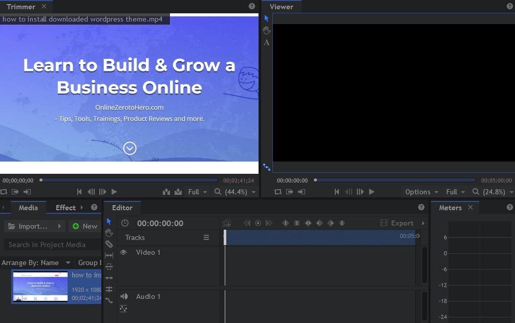 hitfilm express video editor screen