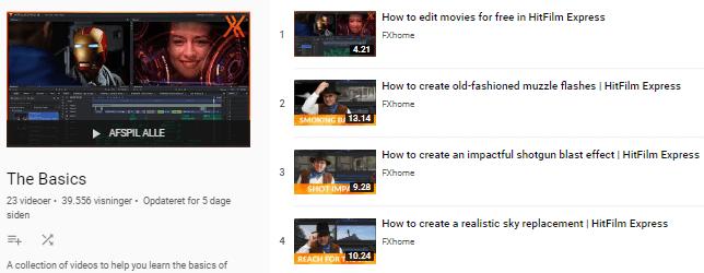 hitfilm express youtube training