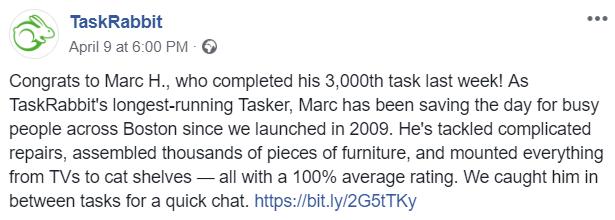 longest taskrabbit worker