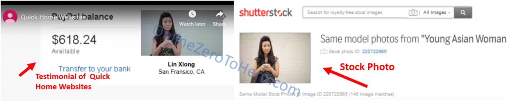 quick home websites fake testimonials