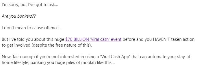 social sales rep promoting viral cash app
