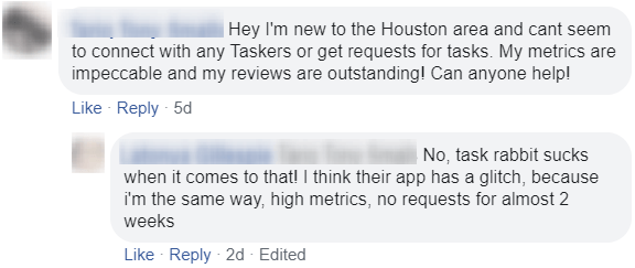 taskers having problems getting jobs