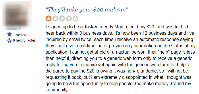 taskrabbit poor review