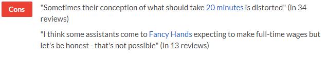 fancy hands complaints