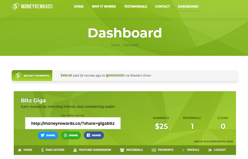 money rewards dashboard